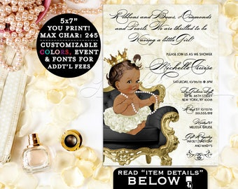 African American girl baby shower, princess girl ethnic printable, diamonds and pearls, ribbons, gold and ivory, party invites, 5x7 Gvites
