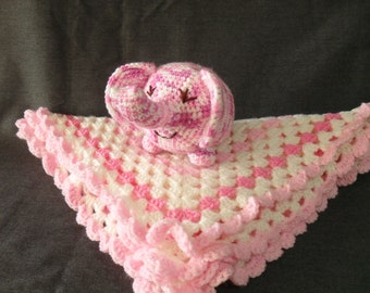 Gift Set Crocheted Baby Afghan and Elephant Soft Toy