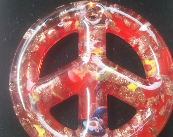 0219-Glass Red Peace Sign Pendants 47mm,Peace Sign Red Glass Pendant, Red Peace Sign Pendant, Red Glass Peace Sign Jewelry Making Pendant