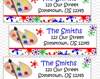 Art Painting Party - Personalized Address labels, Stickers