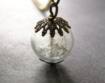 Dandelion Necklace, Dandelion seed,  Bronze Necklace, Gift for Mom, Gift for Her, Make a Wish, Dainty Necklace