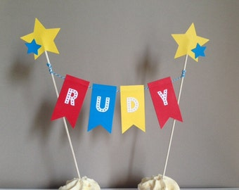 Personalised Birthday Bunting Cake Topper