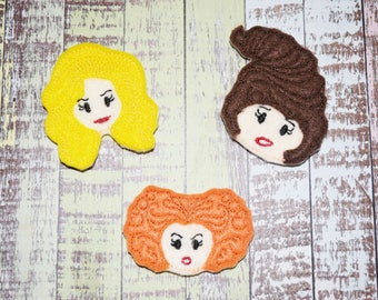 Halloween Witch Sister Felties | Witches | Witch Felties | Applique Style | Hair Bow Supplies | Planner Clips | Felties |
