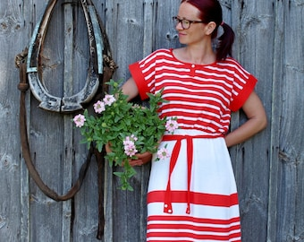 Vintage summer dress UNUSED Red and white striped summer dress Maxi dress SIZE 18 Cotton dress Stripe summer dress Red stripe dress
