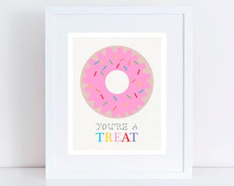 donut art print you're a treat - doughnut Illustration, pink nursery art, kids room decor, baby girl art, dessert art, donut illustration
