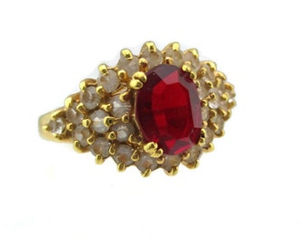 Vintage 14k HGE Gold Oval Garnet and Clear Pave Austrian Crystal Ring Size 6