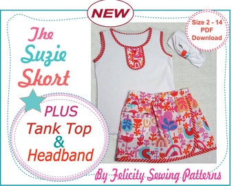Girls skort/shorts and tank top sewing pattern The Suzie Skort & Tank Top for girls 2 to 14 years, 2 pattern bundle deal