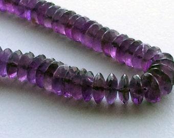 Amethyst German Cut Beads, Amethyst Disc Beads, Purple Gemstone Beads, Amethyst Necklace, 8.5mm To 11mm, 8 Inch Strand