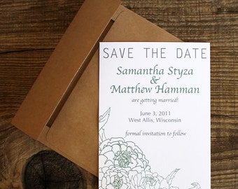 floral peony wedding save the dates - 50 save the date cards