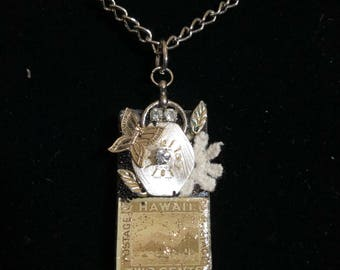 Vintage domino necklace with butterfly