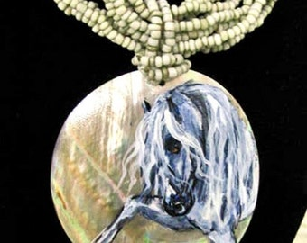 Andalusian horse art handpainted Mother of Pearl necklace