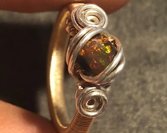 Opal Ring - Gold Filled & Sterling Silver Size 6.5