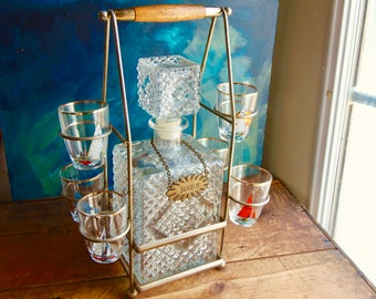 Vintage Barware Set, Glass Decanter Set, Barware With Carrier, Boat Lover  Gift,