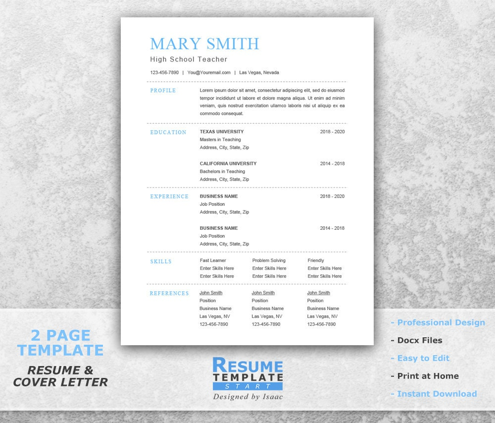 Traditional Resume Template Word Best Resume Template One