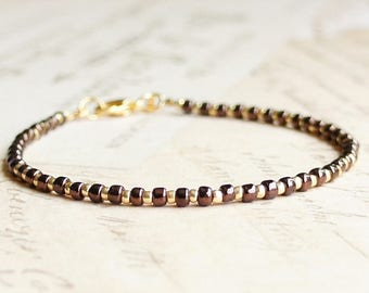 Chocolate Brown And Gold Seed Bead Bracelet, Beaded Bracelet, Stacking Bracelet, Minimalist Bracelet, Dainty Bracelet, Delicate Bracelet