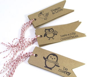Eco Friendly Christmas Gift Tags Penguins - Owls - Snow Birds - Set of 6