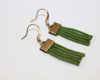 Earrings made of cotton threads