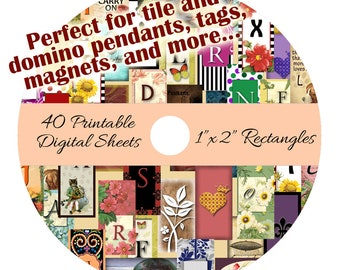"""CD 40 Printable Collage Digital Sheets - 1"""" x 2"""" Rectangle Images for Domino Pendants Tags Magnets"""