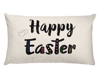 Happy Easter Pillow Throw Cushion, Egg Decoration Spring Decor, Decorative Cover with Insert, Rectangular 20 x 12, Colorful Springtime Toss