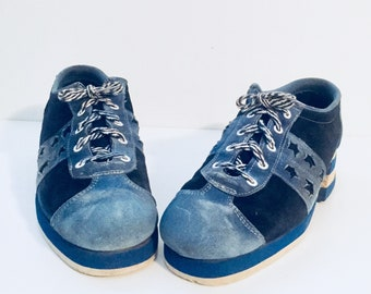60s Lace Up Platform Shoes Two Tone Blue Color Block Star Cut Outs Mens 9 by Thom Mcan