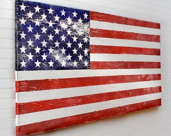 "Wooden American Flag Rustic US Flag Military Gift Rustic Flag Wall Decor Wood American Flag 40""-48"" Sizes Wood Flag Wall Art  USA Flag"