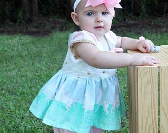 Girls Unicorn Top and Knickers- Toddler Girls- Unicorn Dress- Unicorn outfit- Birthday Dress-  3-6m 6-12m 12-18m 18-24m 2t 3t 4t 5 6 7 8
