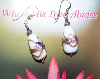White glass and Gold Drop Earrings - Vintage Beads