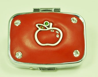 Cute Red Apple Jeweled Pill Box
