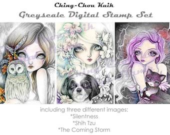Hallo natuurlijke Set 3 - Greyscale afdrukbare Instant Download digitale stempel / hond kat Owl Fairy meisje kunst door Ching-Chou Kuik