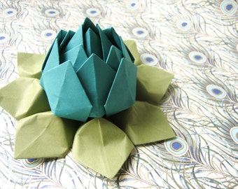 Paper Flower - Origami Lotus Flower -  Peacock and Moss Green - First Anniversary, Get Well, Birthday, Congratulations, will ship directly