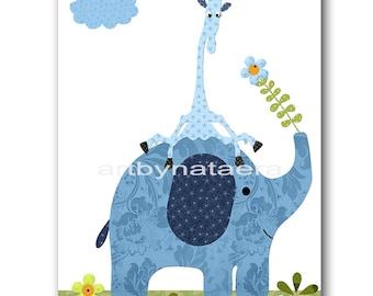 Elephant Nursery Giraffe Nursery Children Decor Baby Boy Nursery Prints Children Wall Art Kids Room Decor Nursery Wall Art Blue Green