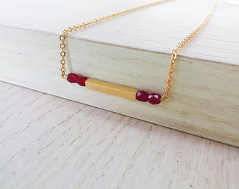 Gold bar pendant, minimalist necklace, gift for her, red and gold necklace, delicate gold necklace
