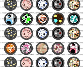 INSTANT DOWNLOAD...Abstract Dots & Designs.... 1.313 inch Circle Images Collage Sheet for 1 Inch Buttons ...Buy 3 get 1