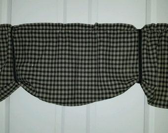 Primitive black and  tan tie up window valance