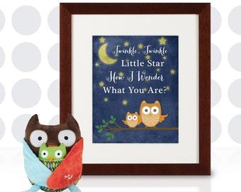 Night Owls Twinkle, Twinkle Customizable Nursery Art - 8x10 - DIY Printable - INSTANT DOWNLOAD