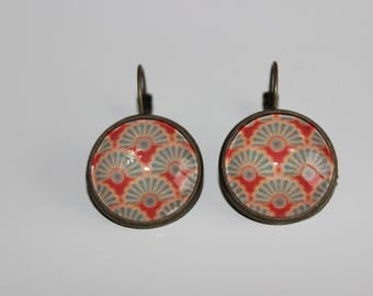 lever back earrings cabochon 20 mm pattern peacock feathers