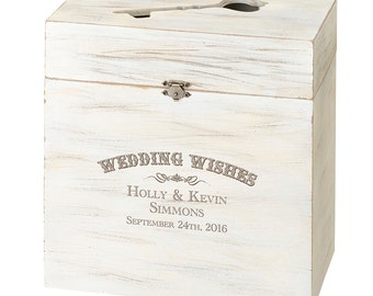 Wedding Wishes Sign in Book Personalized Wooden Key Card Box Alternative Wedding Reception