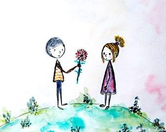 Love on the Planet! Original Handmade Drawing Print