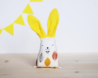 Yellow bunny rabbit with leaves, new baby shower, stuffed linen toys, nursery decor, fabric teething toy, motor skills toy, embroidered baby