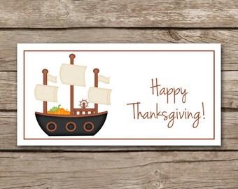 Thanksgiving Treat Bag Topper, Pilgrim Treat Bag Topper, Pilgrim Sticker, Thanksgiving Sticker, INSTANT DOWNLOAD