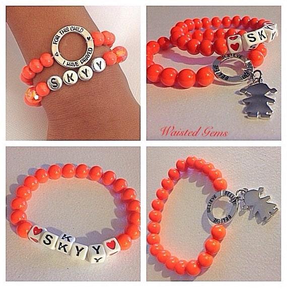 Wilms Cancer Awareness Stretch Bracelet Set.