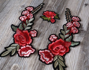 Large Red Rose iron on patch, flower patch,Embroidered patches, red floral Sew on patch,rose patch flower patch back patch,rose patch
