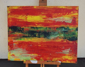"Acrylic Painting ""FIRE"" 20X16 Inches One Of A kind Hand Made in USA Red Black Yellow Green Abstract Modern Art"