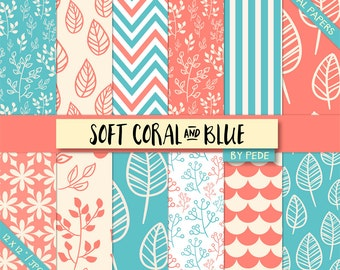 Soft coral and blue digital paper pack, coral digital paper, leaves digital paper, floral, printable, download