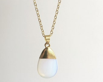 White Opal Necklace, Summer Necklace, Chic