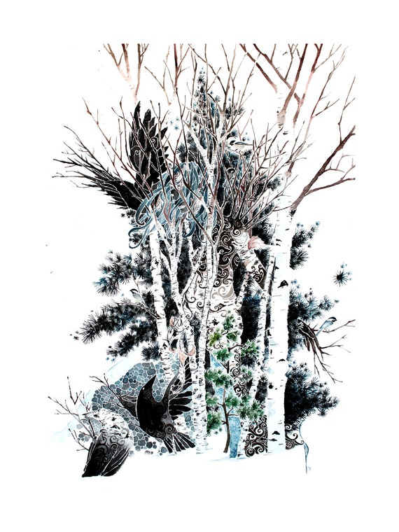 Winter -giclee PRINT of original watercolor
