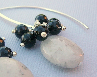 Pyritin Quartz With Black Agate Earrings