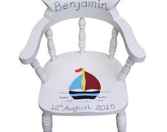 Personalised Child's Captains Chair in White