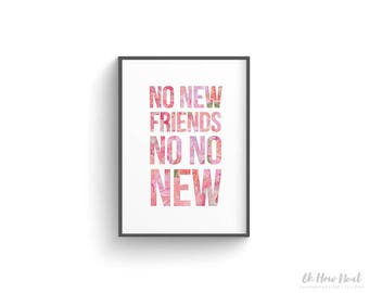 "Drake Printable Wall Sign | ""No New Friends"" No No New DJ Khaled Song Lyrics 