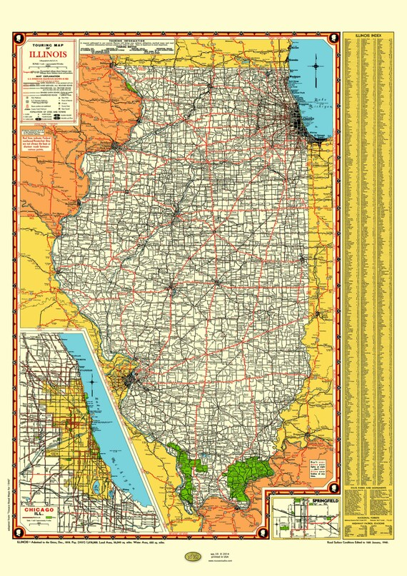 Illinois Road Map 1940 Poster Vintage Chicago Inset Lake